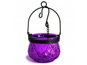 Marocká závěsná lucerna na čajovou svíčku barva levandulová