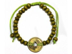 Náramek pro štěstí Feng Shui - hráškově zelený