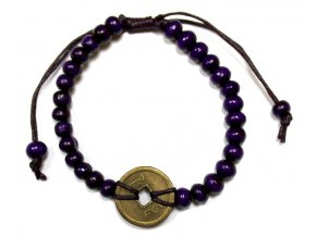 Náramek pro štěstí Feng Shui - fialový