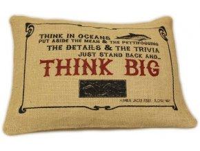"""Jutový povlak na potštář """"Think BIG"""""""