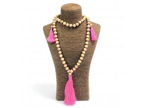 Korálkový náhrdelník z Bali - růžový MAUR.cz