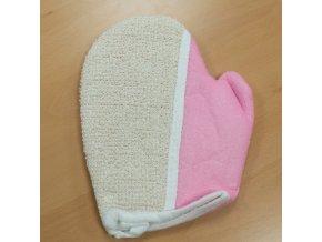 Mycí rukavice z juty-růžová