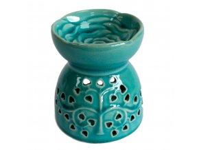 Modrá keramická aromalampa - Strom života