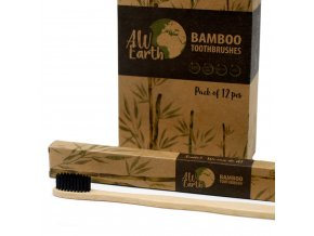 Bambusový kartáček s aktivním uhlí -střední tvrdost