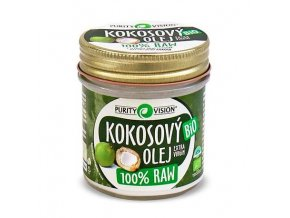 purity vision Raw Bio kokosový olej - kosmetika 120 ml