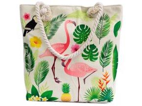 Plážová taška -  Plameňáci a listy