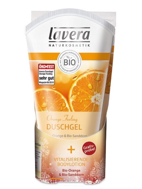 LAVERA Body SPA Sprchový & Koupelový gel BIO Pomeranč BIO Rakytník 150ml + Tělové mléko BIO Pomeranč BIO Rakytník 25ml