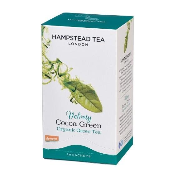 Hampstead Tea London BIO zelený čaj s kakaovými slupkami 20ks