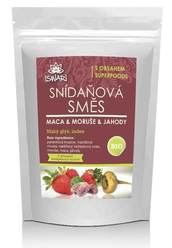 ISWARI BIO Snídaňová směs maca-moruše-jahody 360g + MAUR Chlorella 90g ZDARMA