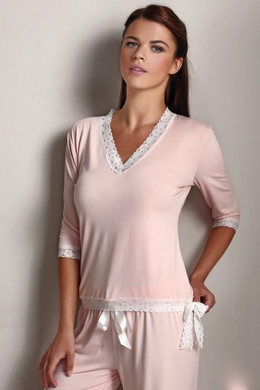 Soft Cotton Dámské bambusové pyžamo ROZALIE lososové Velikost: S - konfekční velikost 34-36
