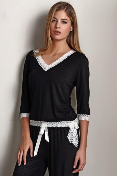 Luisa Moretti Dámské bambusové pyžamo ROZALIE - černé Velikost: XL - konfekční velikost 42-44