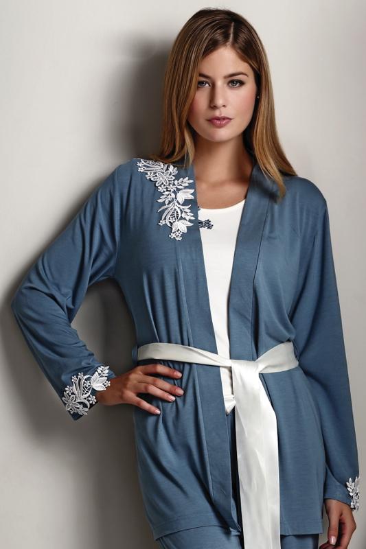 Luisa Moretti Dámské bambusové pyžamo CARINA s županem - barva modrošedá Velikost: S - konfekční velikost 34-36