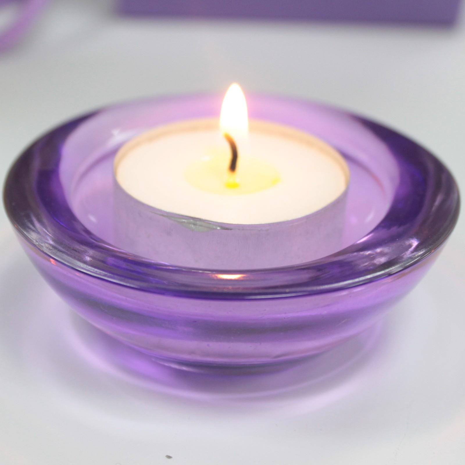 MAUR.cz Skleněný svícen na čajovou svíčku purpurová barva