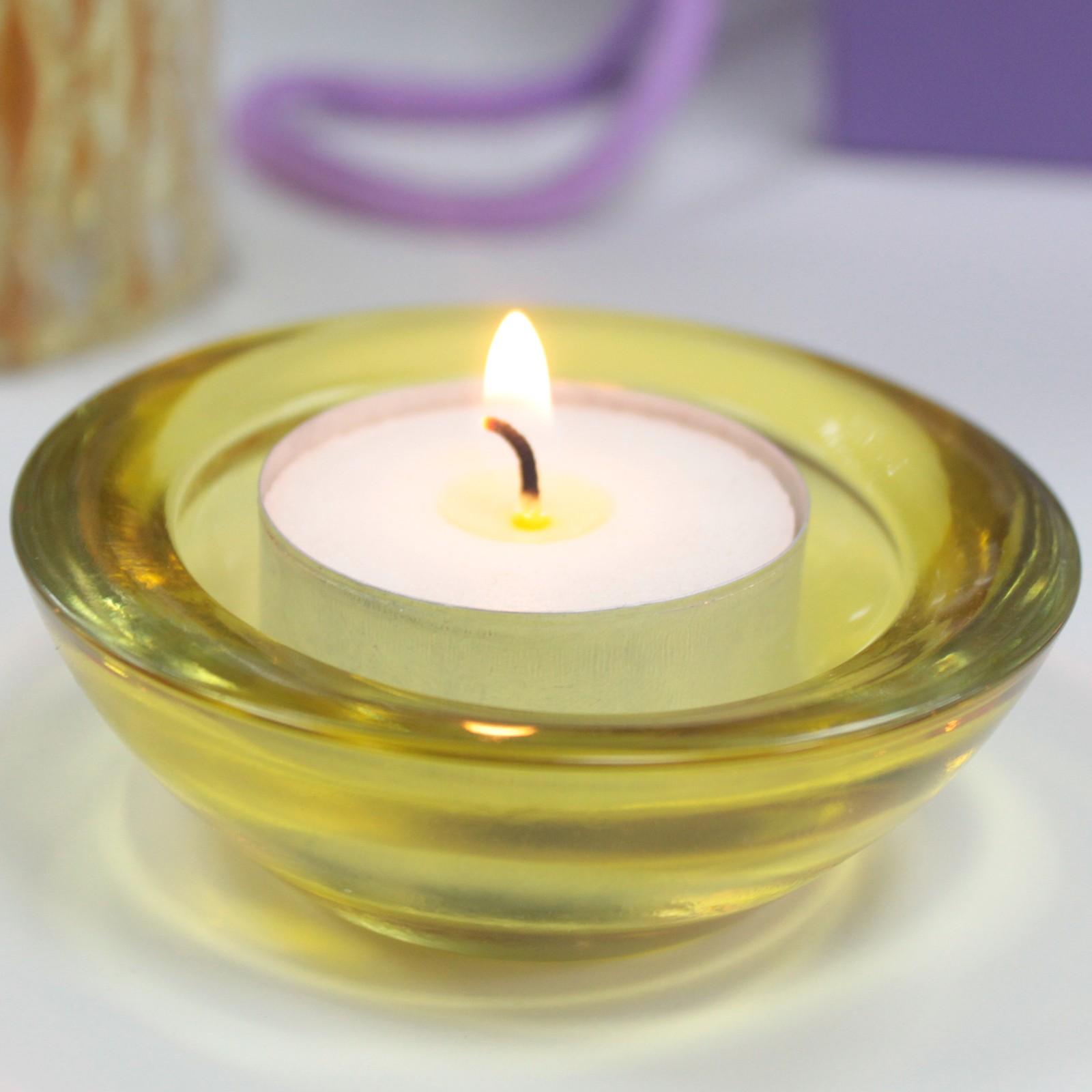 MAUR.cz Skleněný svícen na čajovou svíčku jantarová barva