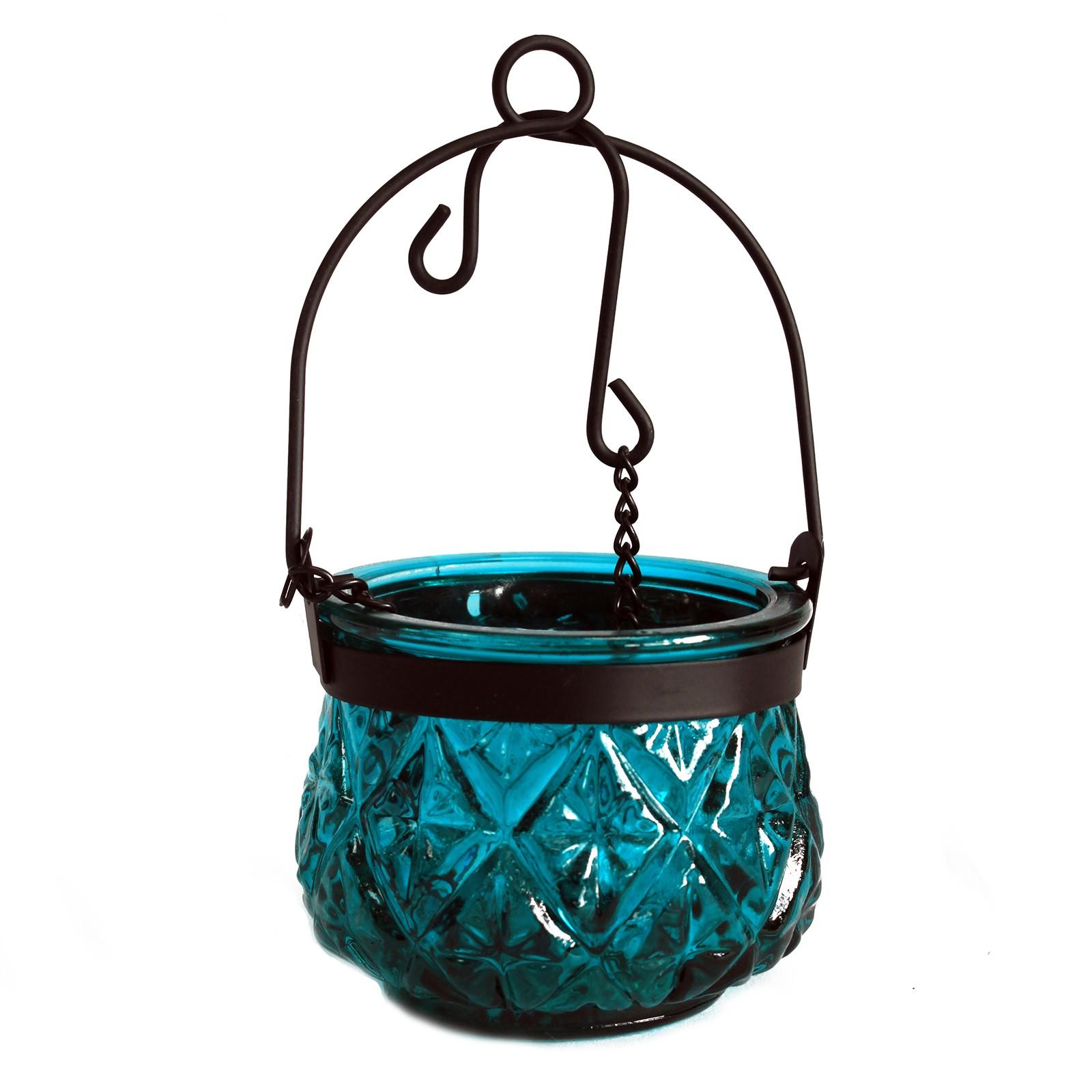 MAUR.cz Marocká závěsná lucerna na čajovou svíčku barva modrozelená