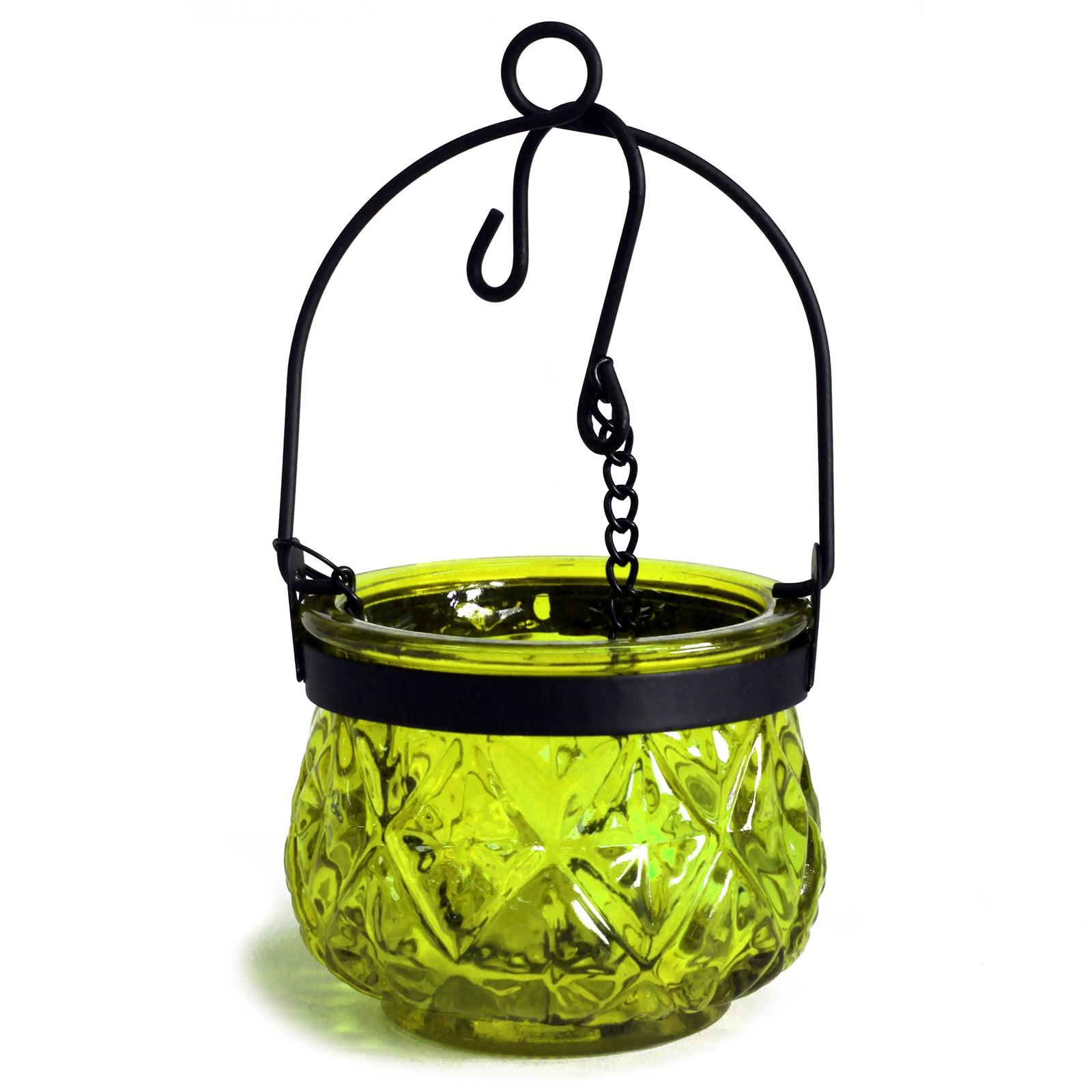 MAUR.cz Marocká závěsná lucerna na čajovou svíčku barva mechová zelená