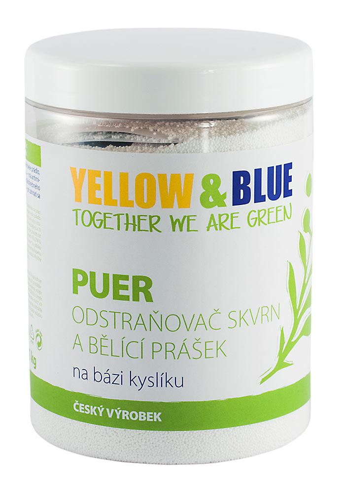 Yellow & Blue PUER - bělící prášek a odstraňovač skvrn na bázi kyslíku Hmotnost: 1000g