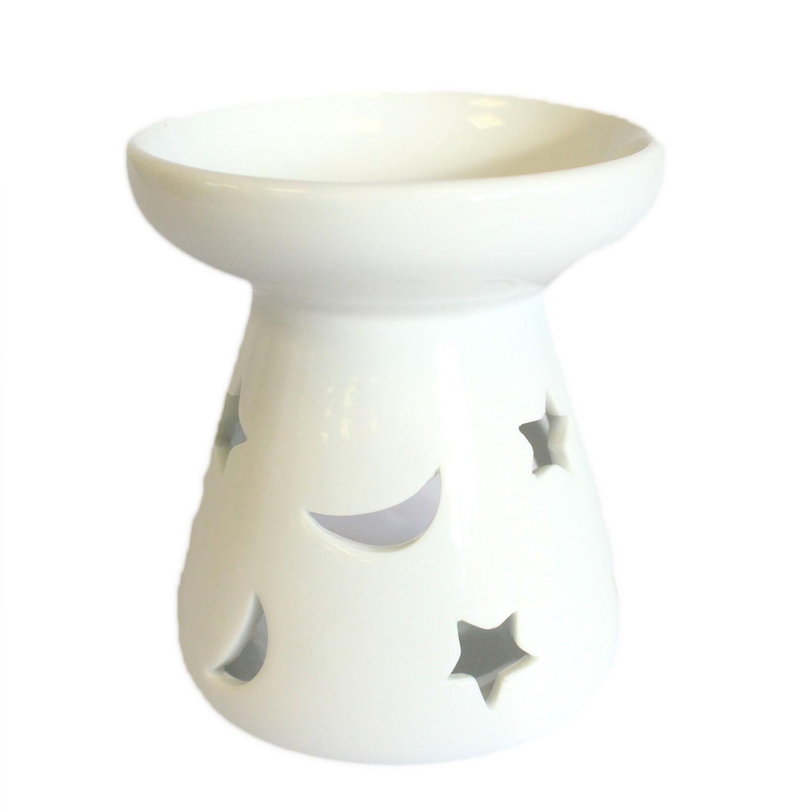 MAUR.cz Bílá keramická aromalampa - Měsíc a hvězdy