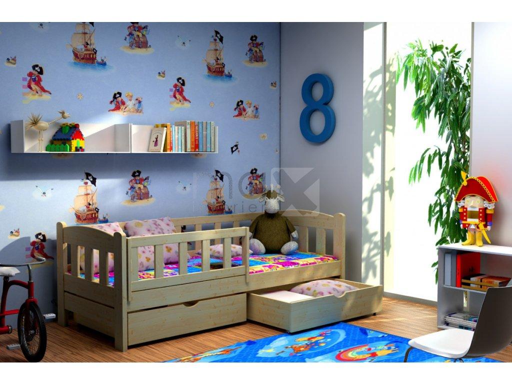 Dětská postel se zábranou DIANA PINE vč. roštu