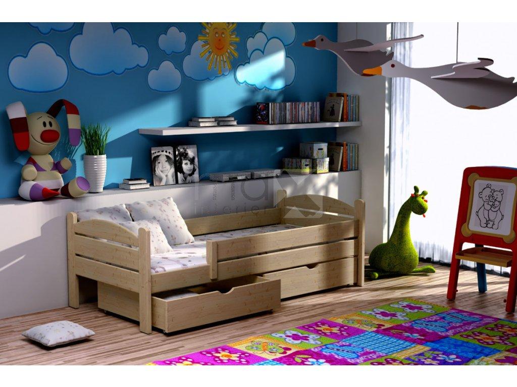 Dětská postel se zábranou ROBIN PINE vč. roštu