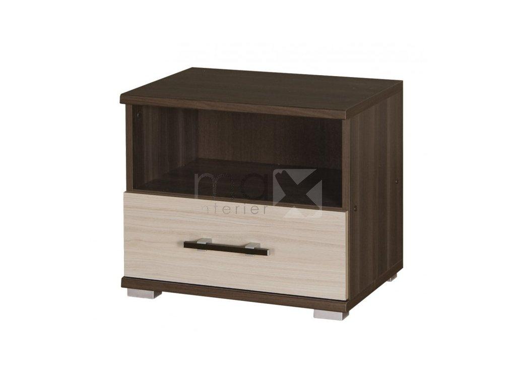 Noční stolek Ingrid R16 jasan tmavý/jasan světlý