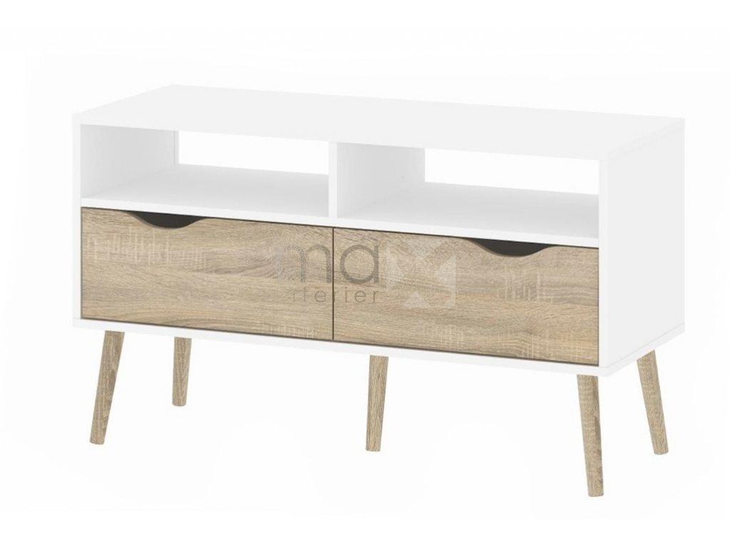 TV stolek Retro 383 bílá/dub