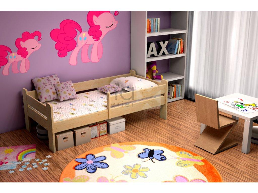 Dětská postel se zábranou STELA PINE vč. roštu