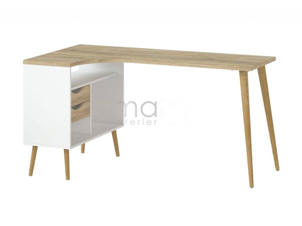 Rohový psací stůl Retro 450 bílá/dub