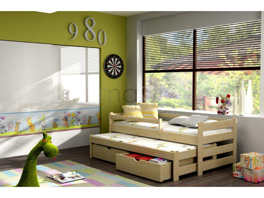 Dětská postel s přistýlkou a zábranou DOPLO PINE vč. roštů