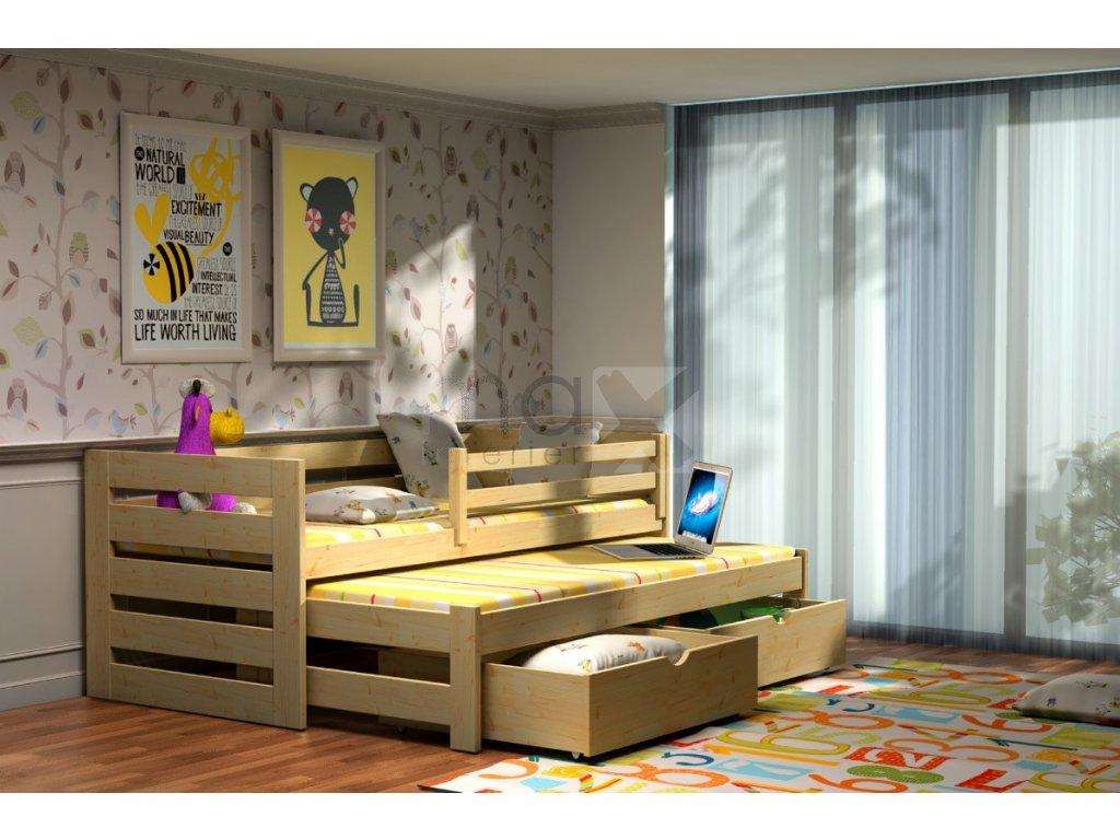 Dětská postel s přistýlkou MONIKA PINE vč. roštů