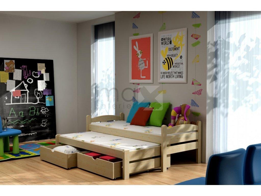 Dětská postel s přistýlkou MAXIM PINE vč. roštů
