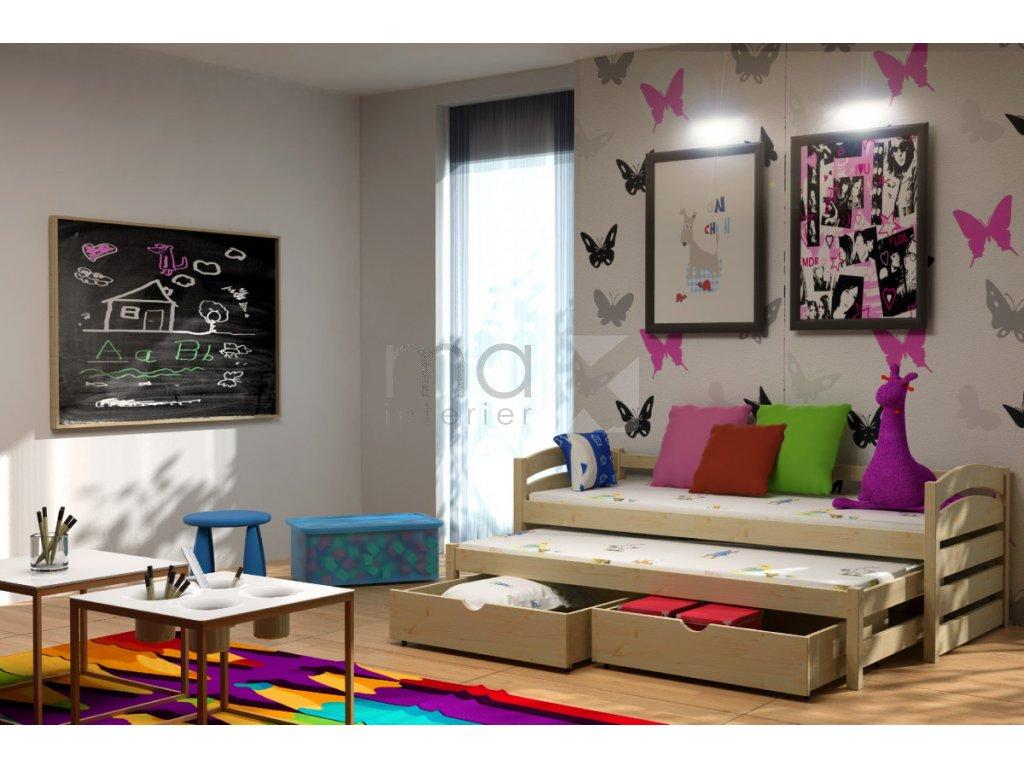 Dětská postel s přistýlkou TAMARA PINE vč. roštů