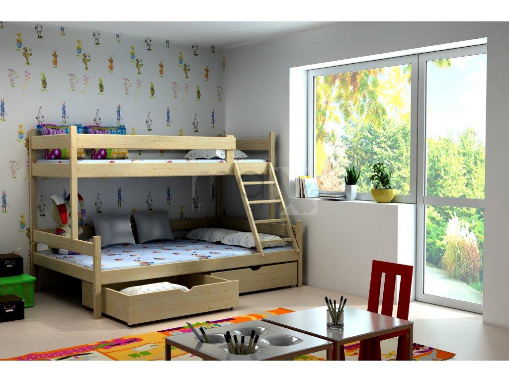 Patrová postel RUDI PINE vč. roštů