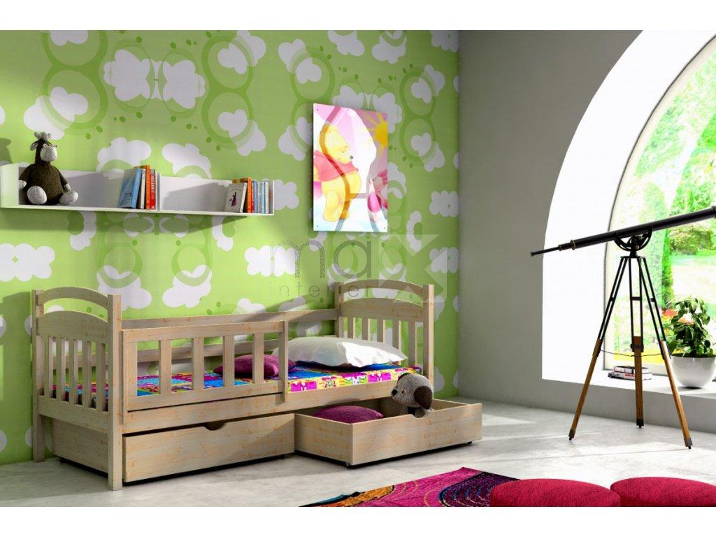 Dětská postel se zábranou KARINA PINE vč. roštu