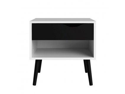 Noční stolek Retro 394 bílá/černá