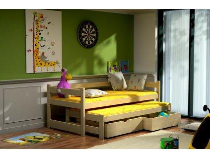 Dětská postel s přistýlkou MAREK PINE vč. roštů