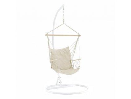 Závěsné křeslo, bavlna / dřevo, bílá, VINTO 2 NEW
