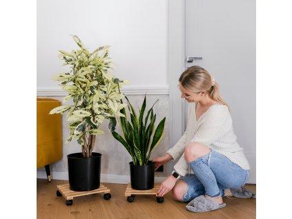 Podstavec pod květináč s kolečky, 2 kusy, bambus, Kosma