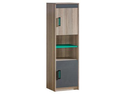 Kombinovaná skříňka ULTTIMO jasan/zelená