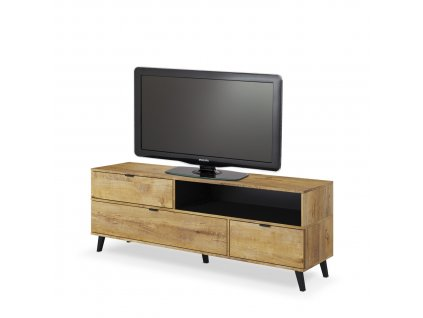 TV stolek NEST RTV-1, barva: dub lefkas / černá