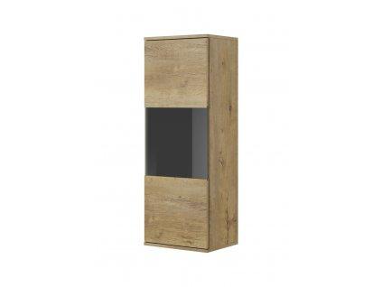 Závěsná vitrína NEST W-1, barva: dub lefkas / černá