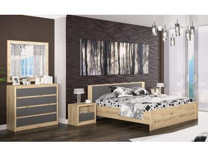 Sestava do ložnice DOMINIKA dub artisan/šedý (postel 160, 2x NS, komoda 4S)