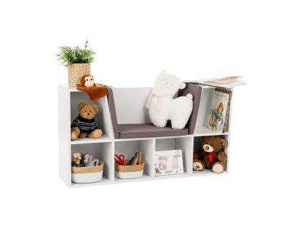 Dětská knihovna s místem k sezení, bílá / šedá, FERIA