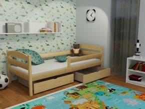 Dětská postel se zábranou Annitti  + matrace,rošt a zásuvky v ceně