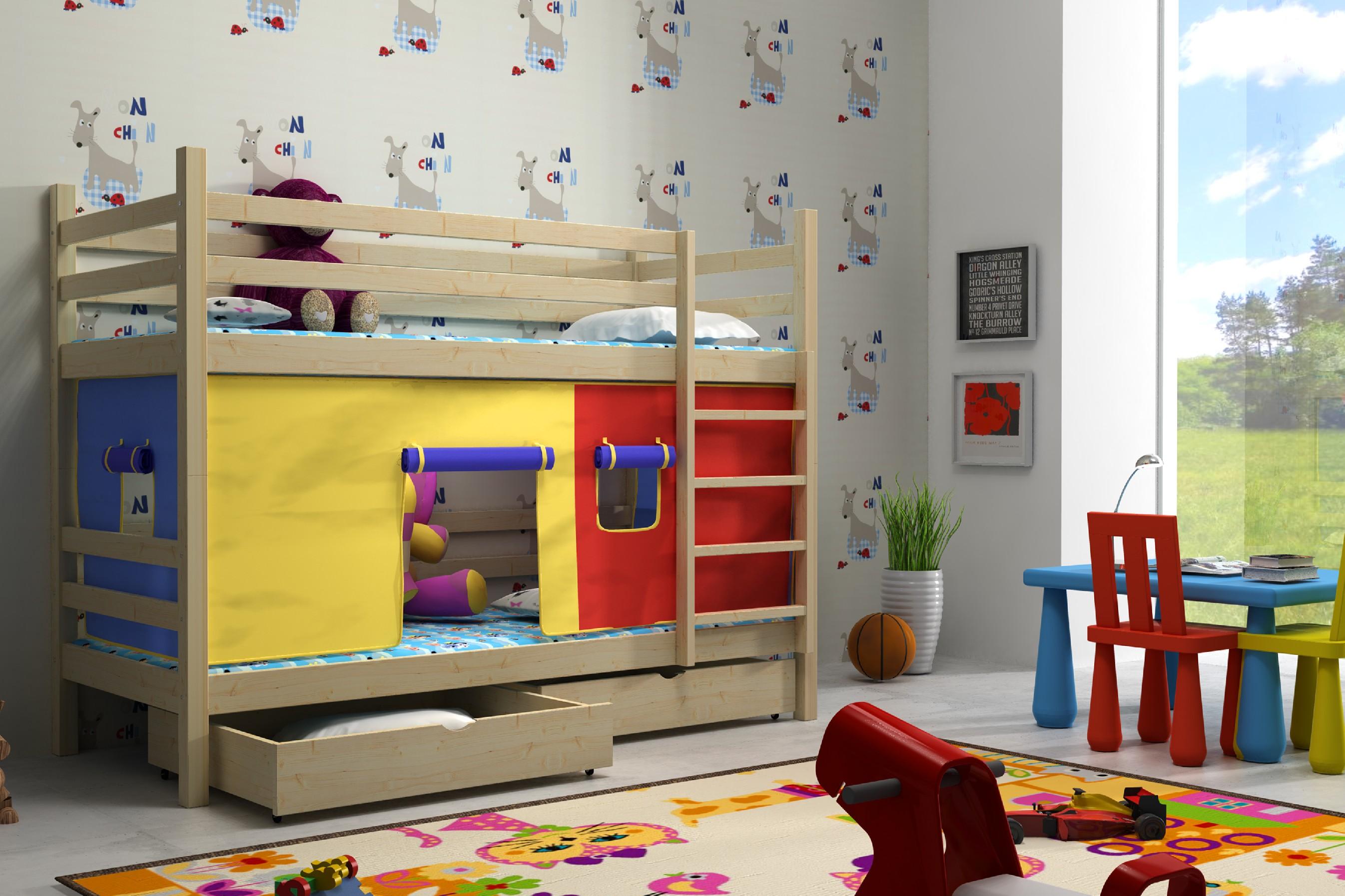Patrová postel Sandra + laťový rošt ZDARMA Rozměr: 200 cm x 90 cm, Povrchová úprava: bezbarvý lak
