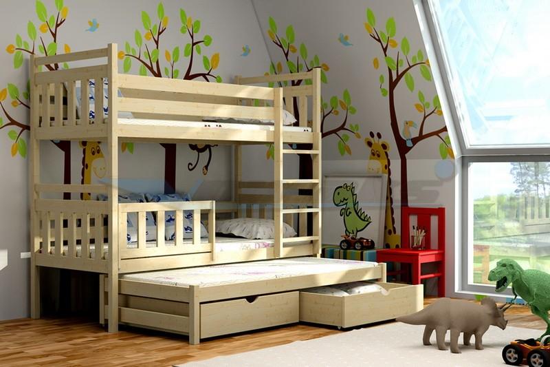 Patrová postel s přistýlkou Zita Rozměr: 180 cm x 80 cm, Povrchová úprava: Bezbarvý ekologický lak