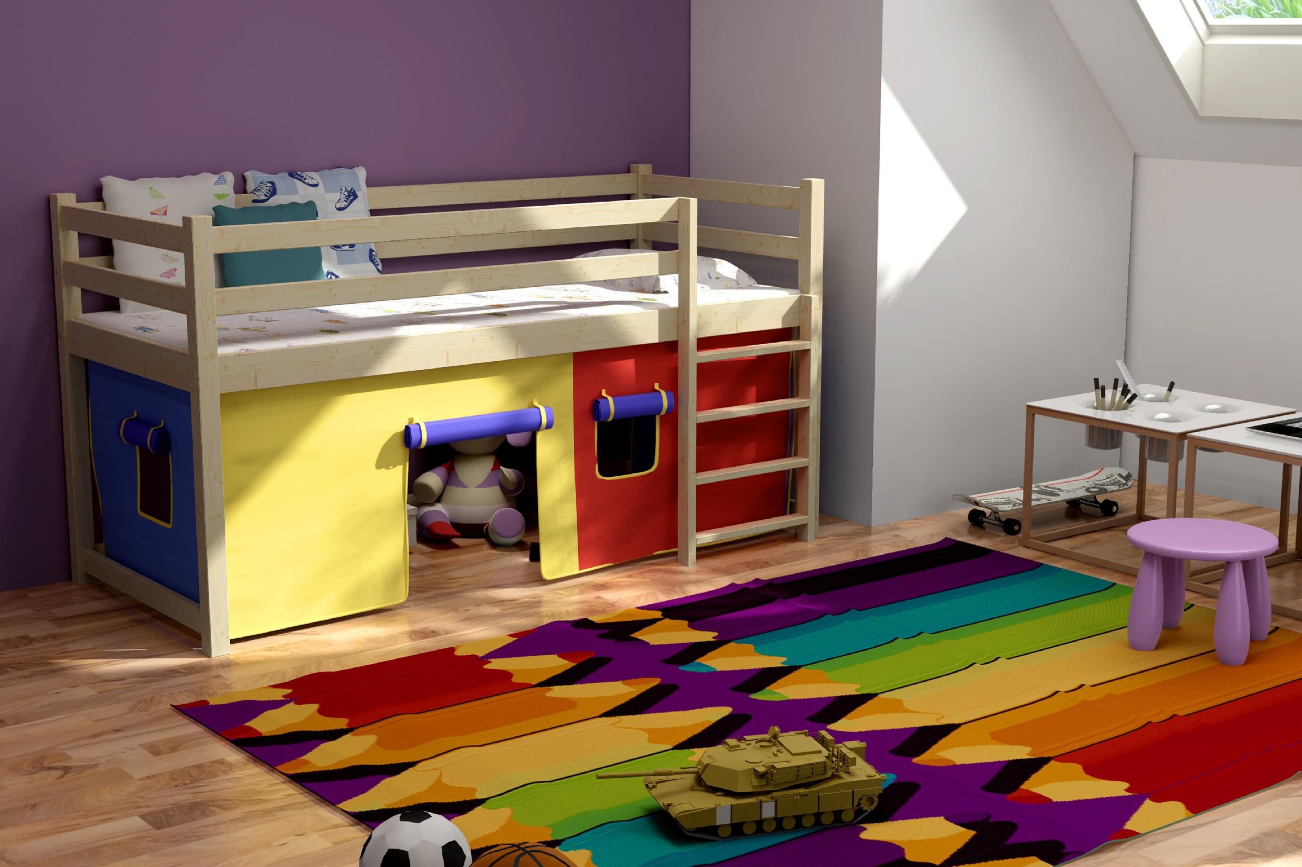 Patrová postel Marina + laťový rošt ZDARMA Rozměr: 200 cm x 90 cm, Povrchová úprava: bezbarvý lak