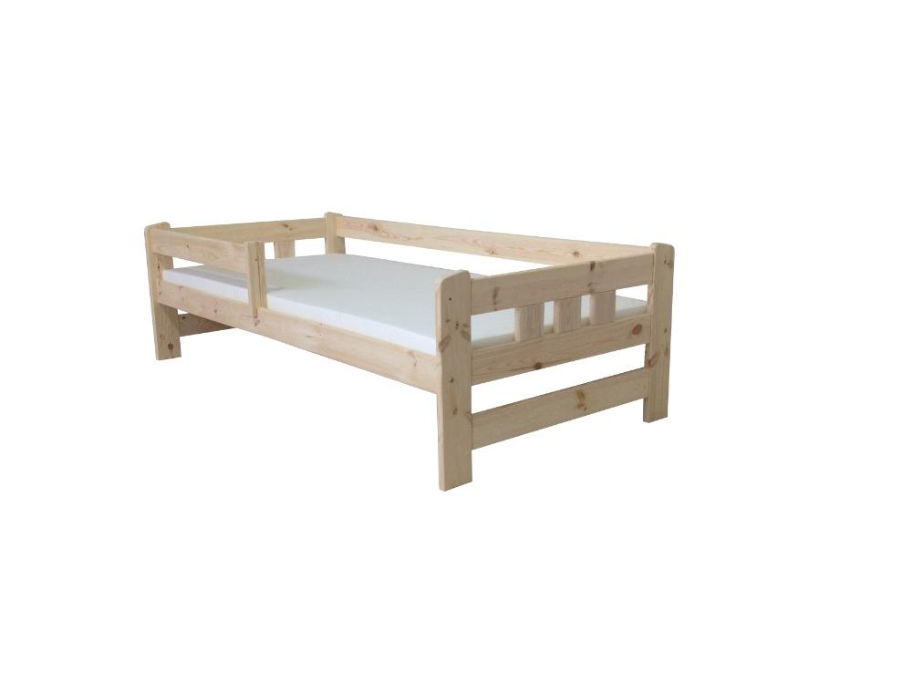 Dětská postel se zábranou GABI + laťový rošt ZDARMA Povrchová úprava: surové dřevo, Rozmě
