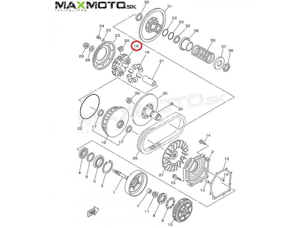 Miska variátora Yamaha Grizzly 550/ 700, Kodiak 700, 3B4