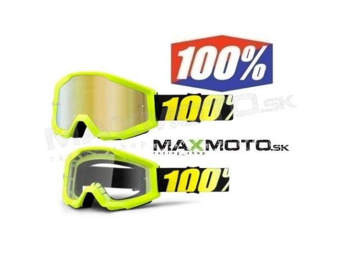 Okuliare 100% STRATA Neon Yellow